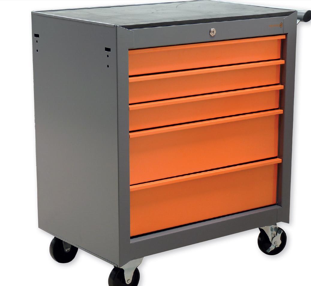 Servante d'atelier 5 tiroirs vide orange et gris equinoxe - 09146