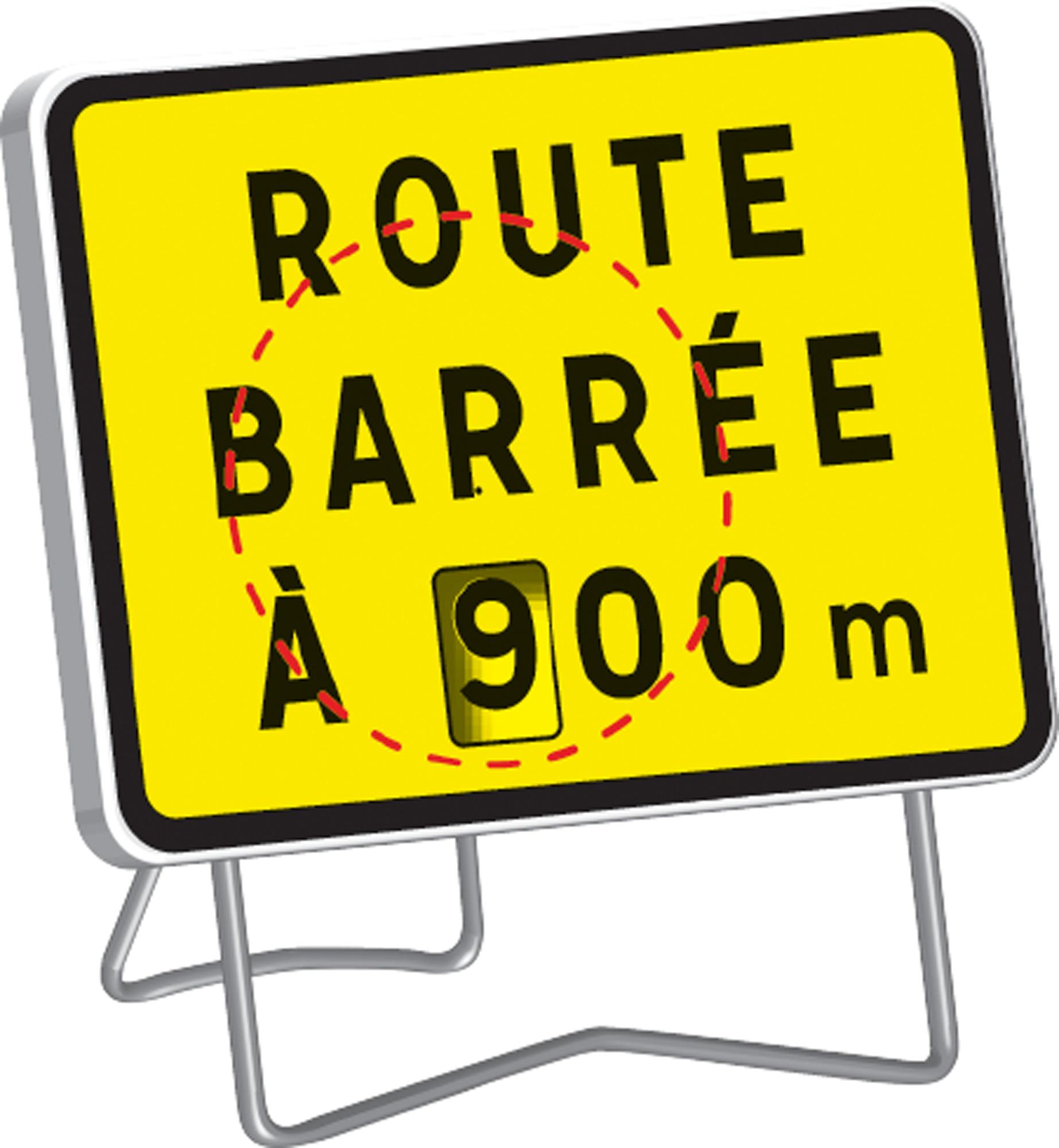 Panneau kc1 ' route barree a --- m ' avec disque de distance variable de 100 à 900 m classe t1 + pied - nadia signalisation - 201234