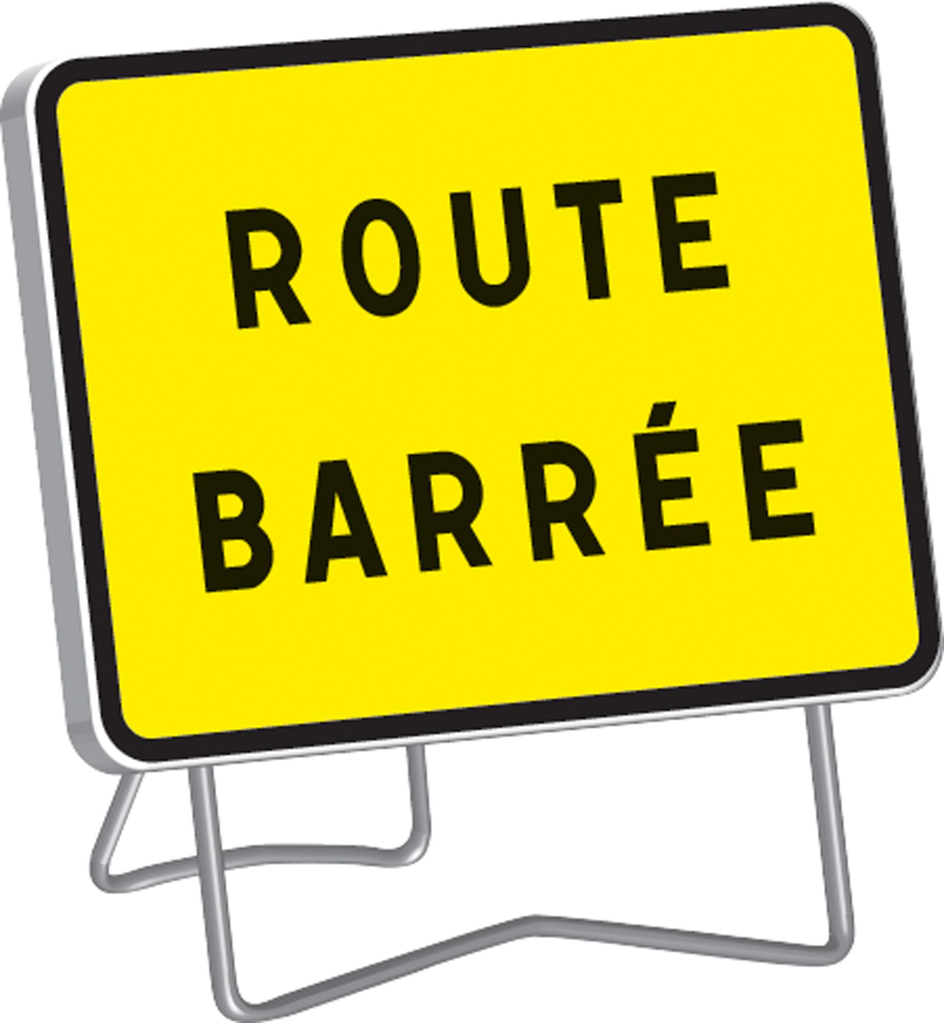 Panneau kc1 ' route barree ' classe t1 + pied - nadia - 201235