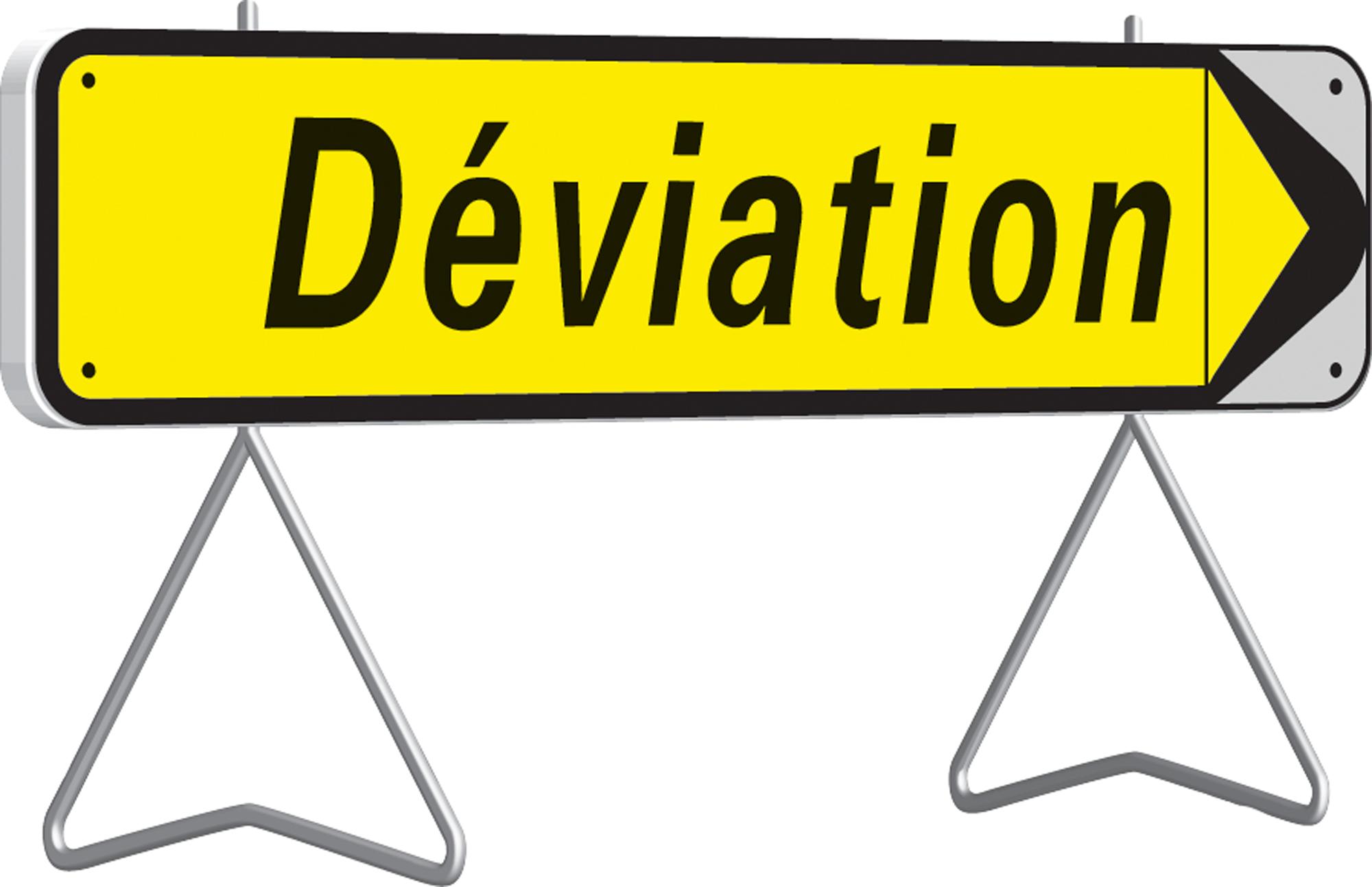 Panneau de déviation temporaire avec flèche amovible kd22a classe t1 + pied - nadia signalisation - 201505