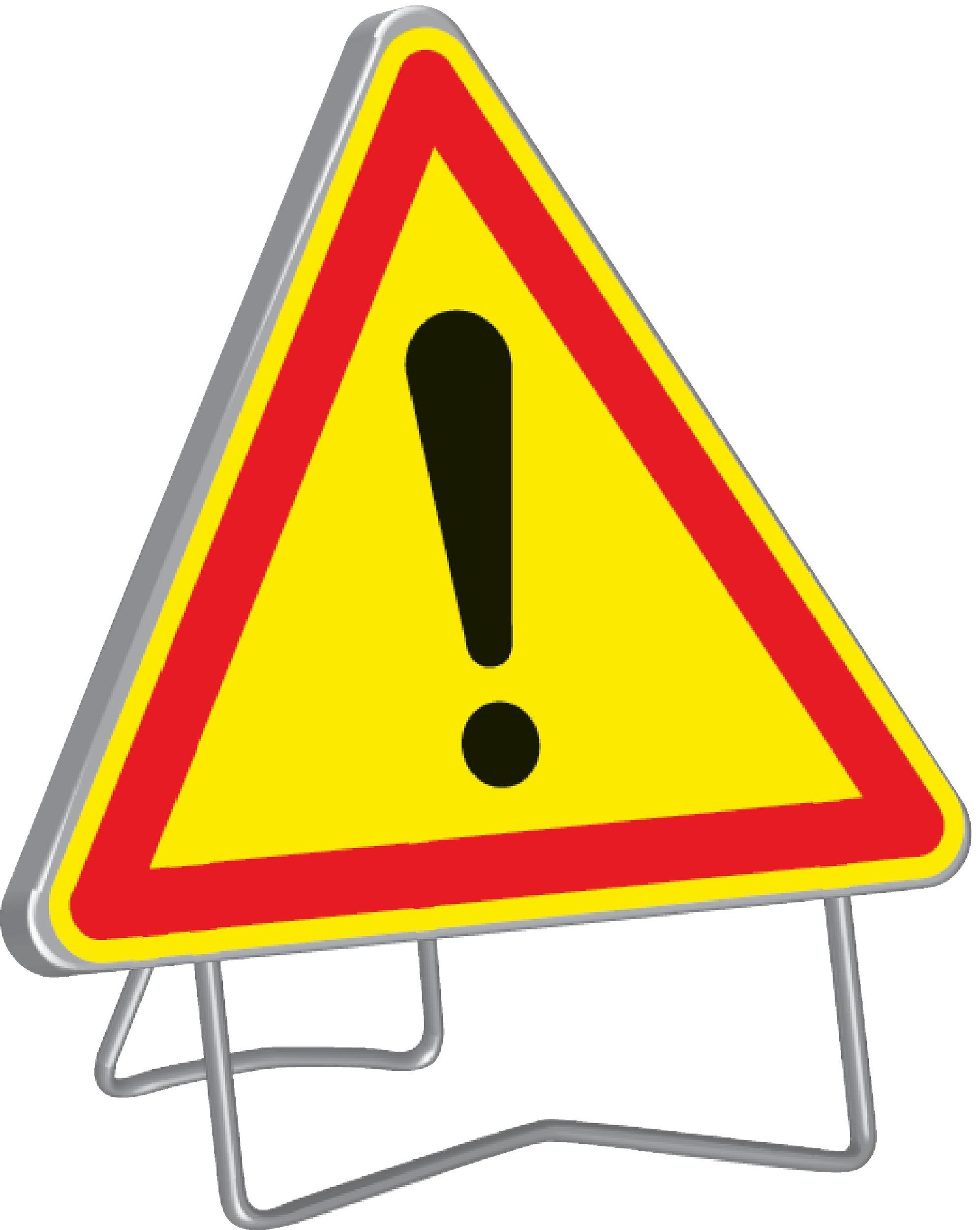 Panneau de signalisation ak14 1000 classe t1 danger + pied - nadia signalisation - 201205