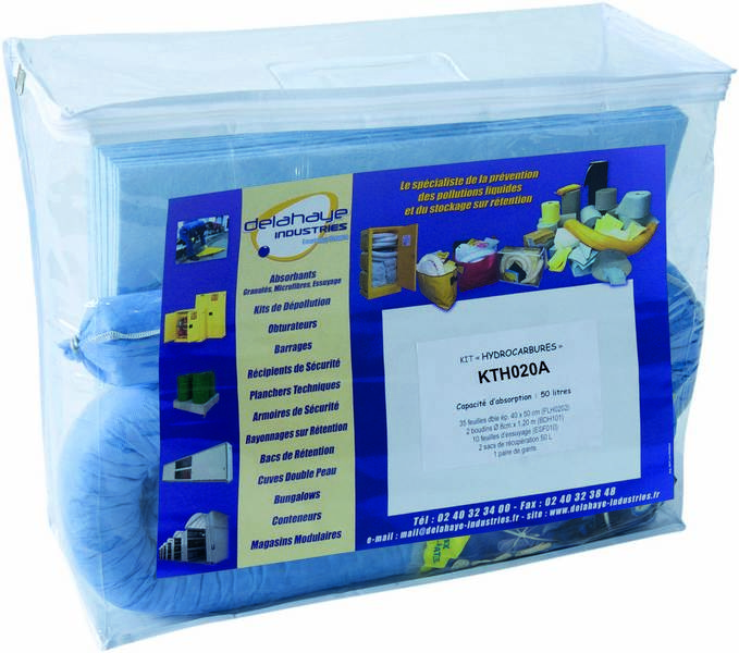 Kit intervention p/ hydrocarbures capacite absorp.20l sodise-08346